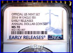 Early Release 2016-w. Annual Dollar Coin Set. Ms70 Silver Eagle $1