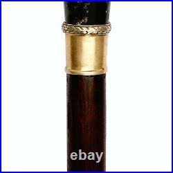 FABERGE Imperial Eagle Russian Silver Seraphinite Emerald Cane Walking Stick RU