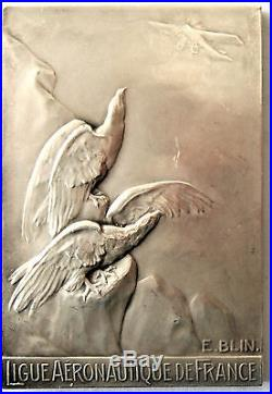 FRANCE-1929-AVIATION-EAGLES LOOKING AT A PLANE SILVER ART DECO by BLIN
