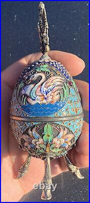 Genuine Antique Russian 84 Silver & Enameled Faberge Egg With Double Eagle
