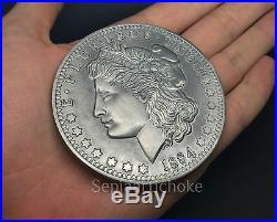 Giant 1884 Morgan Silver Dollar Coin 75mm Usa Liberty