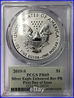 In Stock 2019 S Enhanced Reverse Proof Silver Eagle Pcgs Pr69 Cleveland Fdi