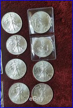 Large lot of silver coins American eagle morgan silver. 999 silver peace dollars