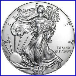 Lot of 100 2019 $1 American Silver Eagle 1 oz Brilliant Uncirculated 5 Full Ro