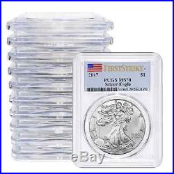 Lot of 10 2017 $1 American Silver Eagle PCGS MS70 First Strike Label