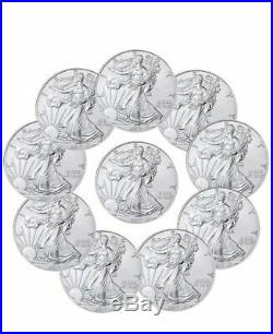 Lot of 10- 2017 Silver American Eagle 1oz Coins
