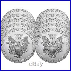 Lot of 10 2018 $1 American Silver Eagle 1 oz Brilliant Uncirculated