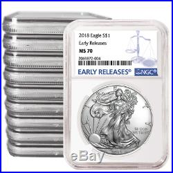 Lot of 10 2018 $1 American Silver Eagle NGC MS70 Blue ER Label