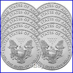 Lot of (10) 2020 1 oz American Silver Eagle Bullion Coins Gem Uncirculated