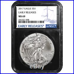 Lot of 20 2017 $1 American Silver Eagle NGC MS69 Blue ER Label Retro Core
