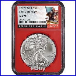 Lot of 20 2017 $1 American Silver Eagle NGC MS70 Early Releases Black ER Label