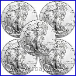 Lot of 5 2015 1 oz. 999 American Silver Eagle $1 Coins BU IN STOCK