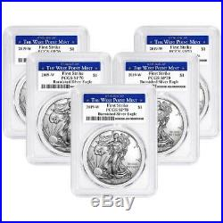 Lot of 5 2019-W Burnished $1 American Silver Eagle PCGS SP70 FS West Point Lab