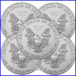 Lot of 5 2020 $1 American Silver Eagle 1 oz Brilliant Uncirculated