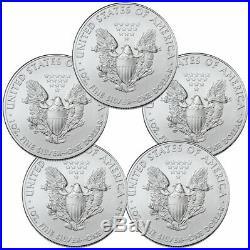 Lot of 5 2020 1 oz American Silver Eagle $1 Coins GEM BU PRESALE SKU59438