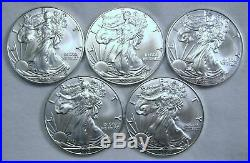 Lot of 5, 2020 American Eagle Coins 1 oz. 999 Fine Silver-IN STOCK, READY TO SHIP