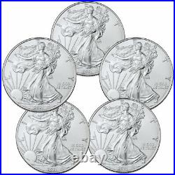 Lot of 5 2021 American Silver Eagle T-1 BU Brilliant Uncirculated Coins