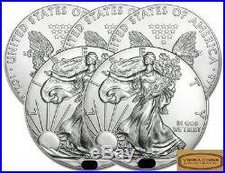 Lot of 5 Random Year American Silver Eagles BU, 1 oz Pure Silver. 999 -#A04
