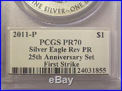 MERCANTI Signed 2011-P REVERSE Proof PCGS PR70 FIRST Strike 25th SILVER EAGLE $1