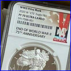 NGC PF70 2020 W END of WORLD WAR II 75th SILVER AMERICAN EAGLE V75 in hand