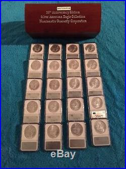 NGC SPECIAL 20th ANNIVERSARY 1986 THRU 2005 LIMITED SET OF SILVER EAGLES