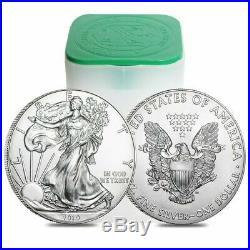 One BU mint roll of 20- 2019 American Eagles 1 oz silver coins. No spot gems