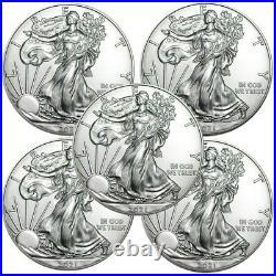 PRESALE Lot of 5 2021 American Eagle Coins 1 oz. 999 Fine Silver