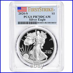 Presale 2020-S Proof $1 American Silver Eagle PCGS PR70DCAM FS Flag Label