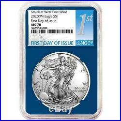 Presale 2020 (W) $1 American Silver Eagle 3 pc. Set NGC MS70 FDI First Label R