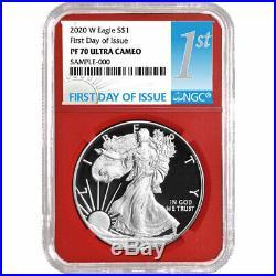 Presale 2020-W Proof $1 American Silver Eagle 3pc. Set NGC PF70UC FDI First La