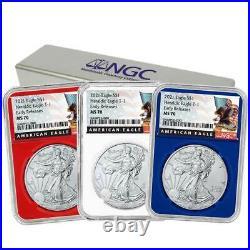 Presale 2021 $1 American Silver Eagle 3pc. Set NGC MS70 Black ER Label Red Whi