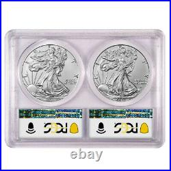 Presale 2021 $1 Type 1 and Type 2 Silver Eagle Set PCGS MS70 Blue Label