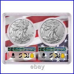 Presale 2021 $1 Type 1 and Type 2 Silver Eagle Set PCGS MS70 FDOI Flag Frame