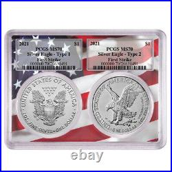 Presale 2021 $1 Type 1 and Type 2 Silver Eagle Set PCGS MS70 FS Flag Frame
