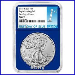Presale 2021 $1 Type 2 American Silver Eagle 3 pc Set NGC MS70 FDI First Label