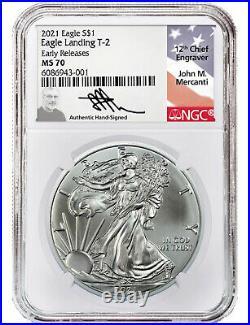 Presale 2021 $1 Type 2 American Silver Eagle NGC MS70 ER John Mercanti Signed