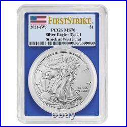 Presale 2021 (W) $1 American Silver Eagle 3pc. Set PCGS MS70 FS Flag Label Red