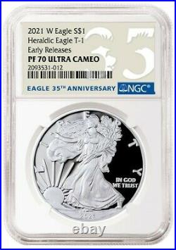Presale 2021 W $1 American Silver Eagle Type 1 Ngc First Release Pf70 35th