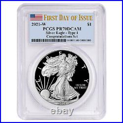 Presale 2021-W Proof $1 American Silver Eagle Congratulations Set PCGS PR70DCA