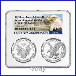 Presale 2021-W Proof $1 Type 1 and Type 2 Silver Eagle Set NGC PF70UC Advanced