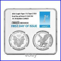 Presale 2021-W Proof $1 Type 1 and Type 2 Silver Eagle Set NGC PF70UC FDI Firs