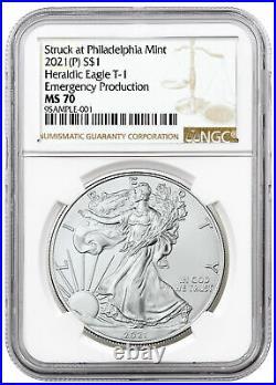 Presale 2021 (p) Emergency $1 American Silver Eagle Ngc Ms70