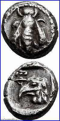 Rare Ancient Greek Silver Hemiobol Coin 580 Bc Be, Eagle Head
