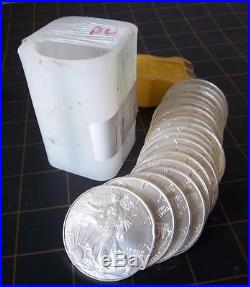 ROLL OF 20 KEY DATE Date 1996 AMERICAN SILVER EAGLE 1 oz BRILLIANT UNCIRCULATED