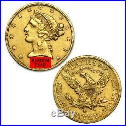 Random Year Half Eagle Coronet Head $5 Gold Liberty Coin FREE SHIPPING