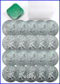 Roll of 20 2015 1 Troy Oz. 999 Silver American Eagle $1 Coins SKU33772