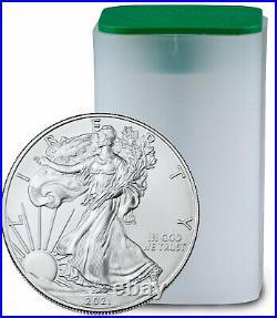 Roll of 20 2021 1oz American Silver Eagle $1 Coin Brilliant Uncirculated PRESALE