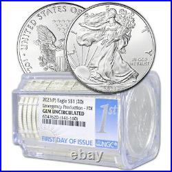 Roll of 20 2021-(P) American Silver Eagle NGC Gem Uncirculated First Day Issue