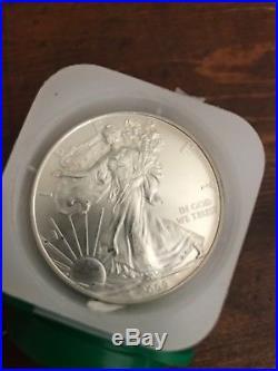 Roll of 20 American Silver Eagle 1oz. 999 year 2009