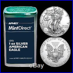 Silver American Eagles (Random Year, 20-Coin MintDirect Tube) SKU#189172